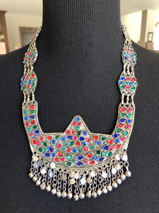 Multicolored Afghan Glass Oxidized Necklace with Matching Earrings