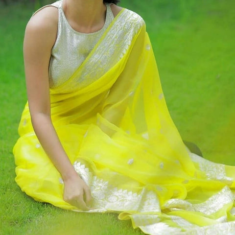 Pure Yellow Handwoven Khaddi Chiffon Georgette with Pure Silver Zari and Tassels
