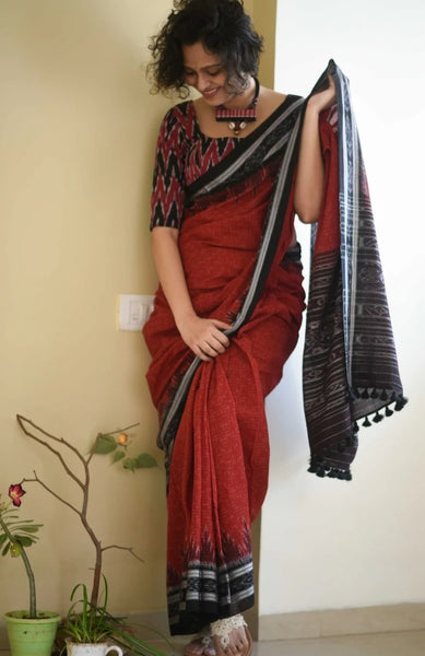 Watermelon, Brown & Black Handloom Cotton Saree