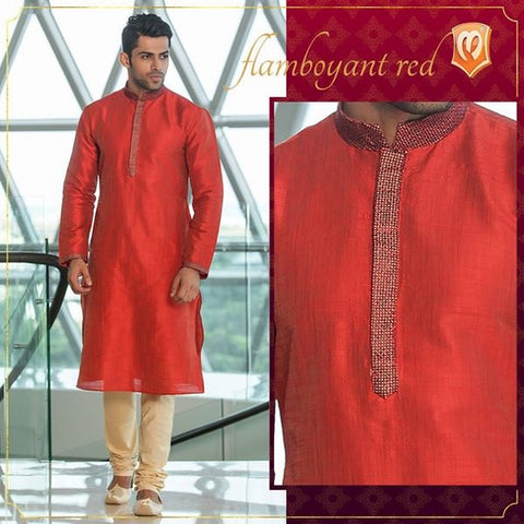 Beautiful Flamboyant Red Colored Kurta Pajama