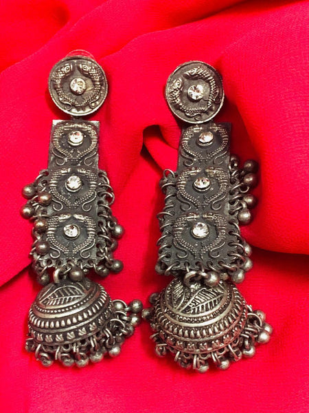 German Silver Ghungroo Afghani Earrings with Glass Stones