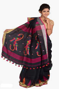 Black Color 100 Count Handwoven Linen Saree