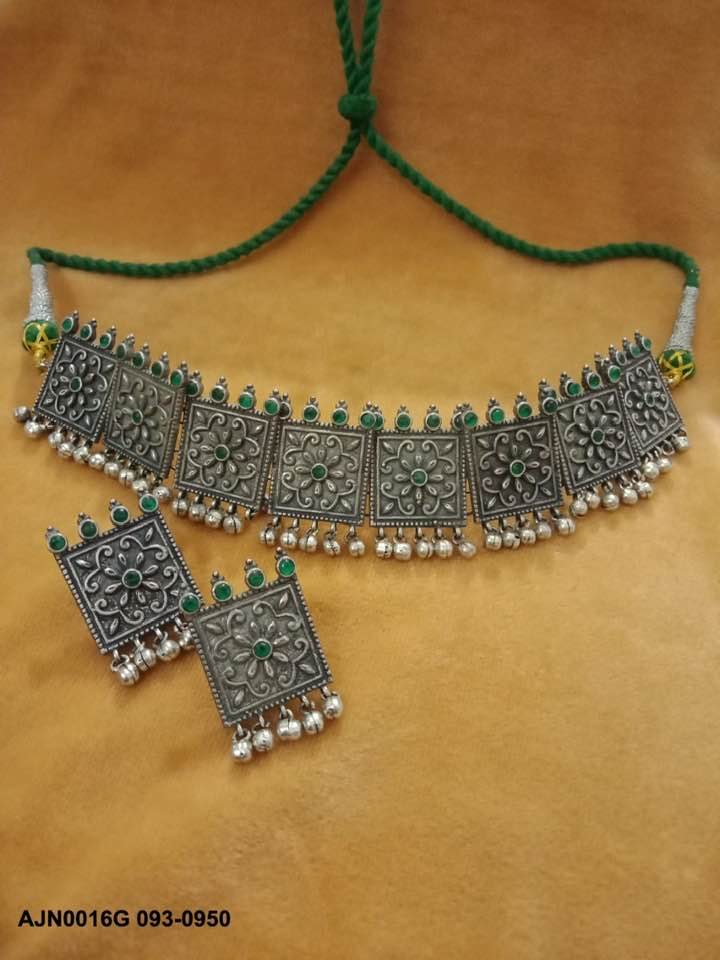 Vintage German Silver Choker Necklace and Earring Set with Green Stone and Jhumka