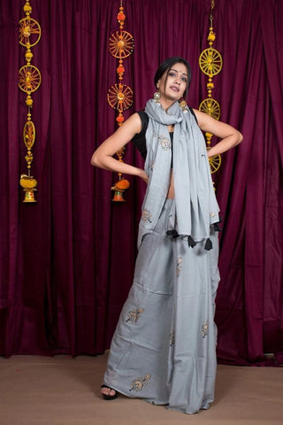 Grey Hand Block Print Cotton Mulmul Saree