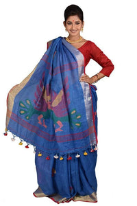 Blue Color 100 Count Handwoven Linen Saree