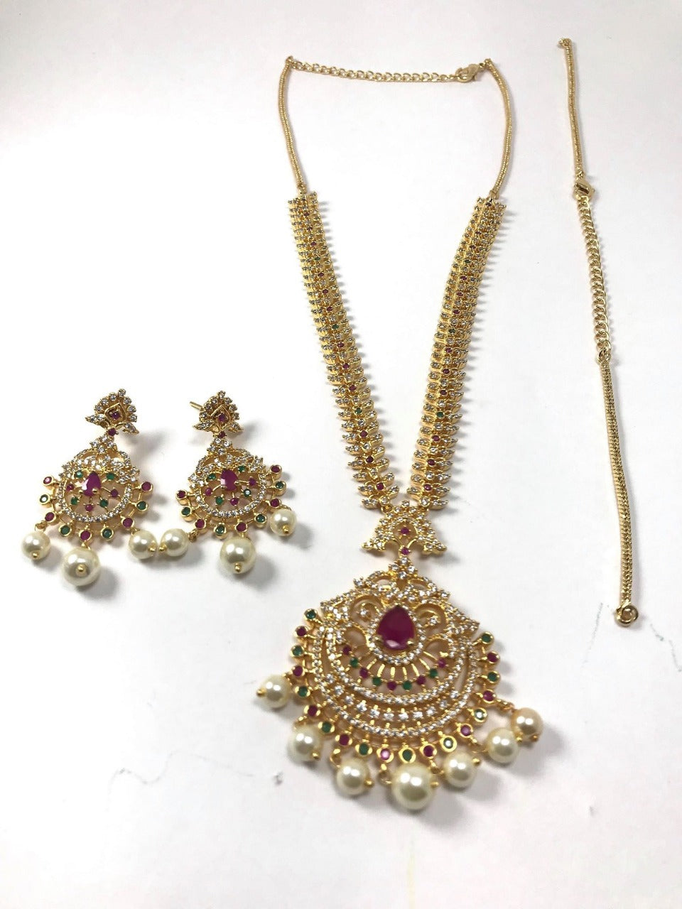 Gold Plated Enchanted Necklace Set with Pink & Green Stones With Matching Earrings