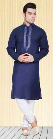 Violet Colored Dupion Silk Mens Kurta Pajama Set