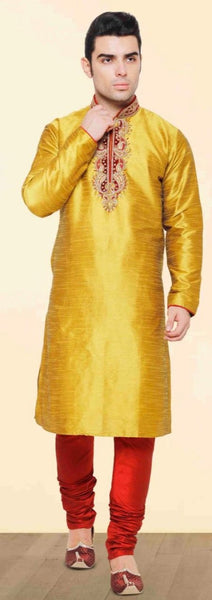 Mustard Yellow Pure Silk Mens Long Kurta Pajama Set