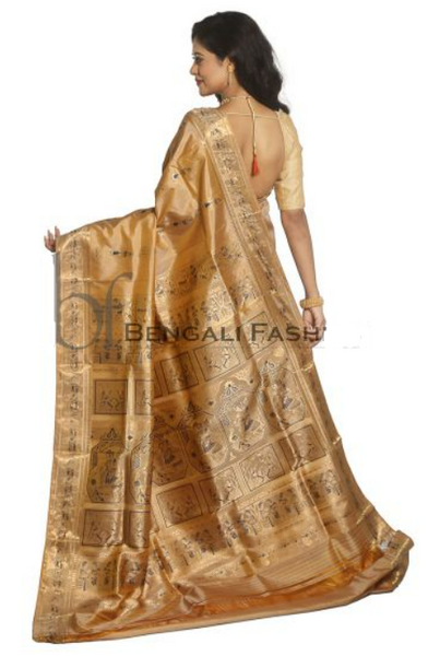 Off White Handwoven Tissue Cotton Silk Maheshwari Saree