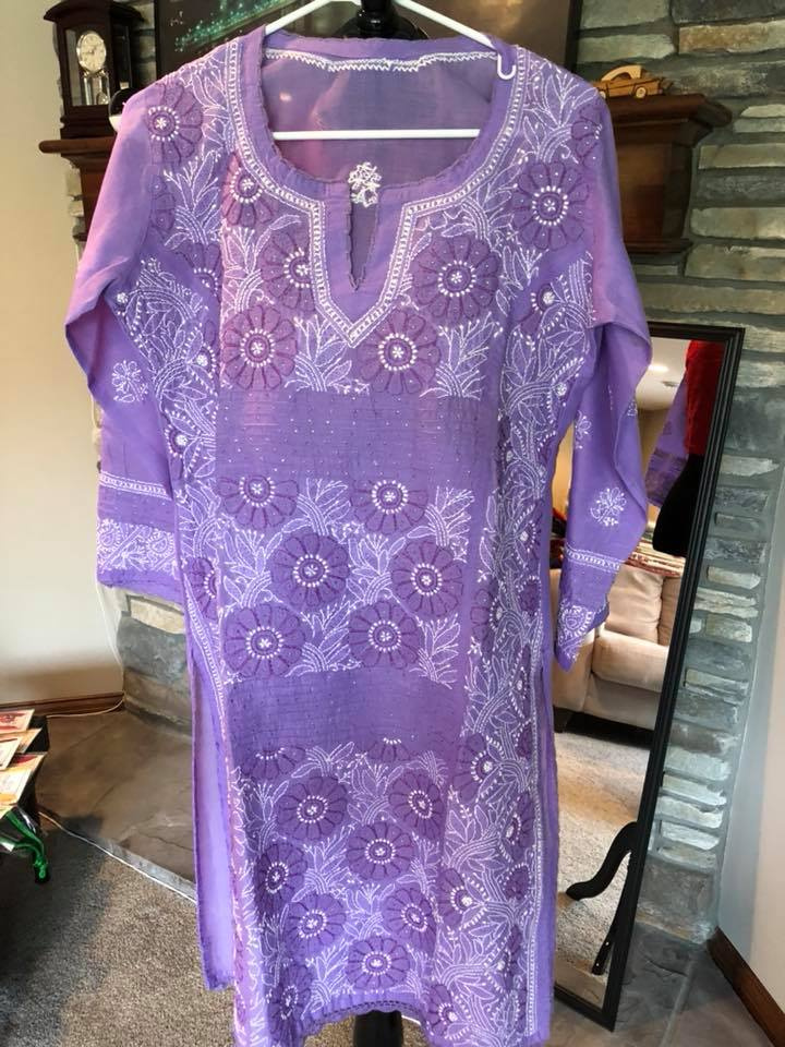 Pastel Purple Colored Lucknow Chikan Summer Long Cotton Kurti