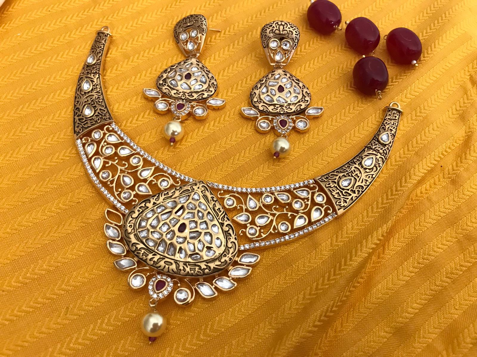 Gold Plated Designer Kundan Choker Necklace Set with Red Stone & Matching Earrings