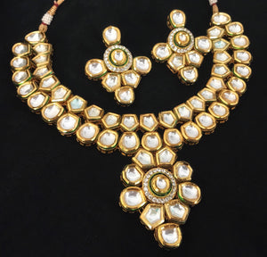 Gold Plated Kundan Choker Necklace Set With Matching Earrings