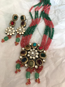 4 Layered Multicolored Beaded Garnet Kundan Necklace Set with Multicolored Semi Precious Stones & Matching Earrings