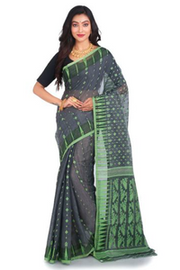 Grey and Green Stylist Soft  Dhakai Jamdani Saree