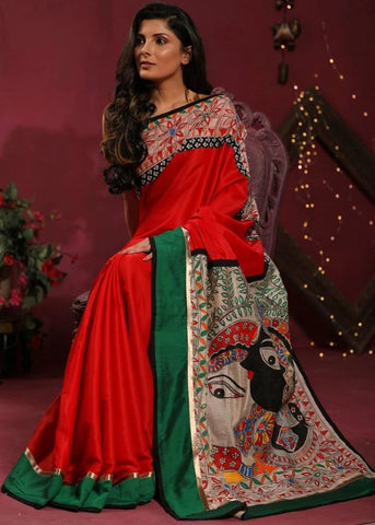 RED SEMI SILK SAREE WITH HAND PAINTED MADHUIBANI WORK