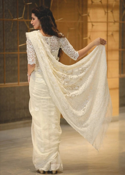 Pure Handwoven White Georgette Lucknow Chiffon Saree