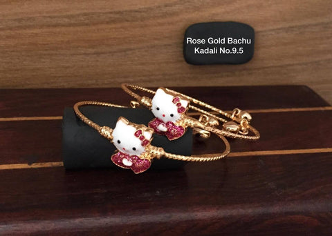 Rose Gold Girls Bangles with Jhumkas.