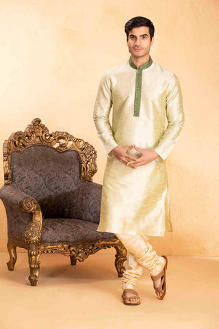 Manyavar Men's Light Green Kurta Churidar Set with Textured Collar