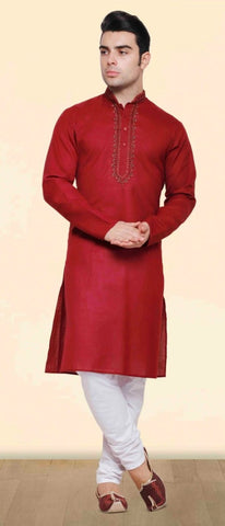 Red Colored Dupion Silk Mens Kurta Pajama Set