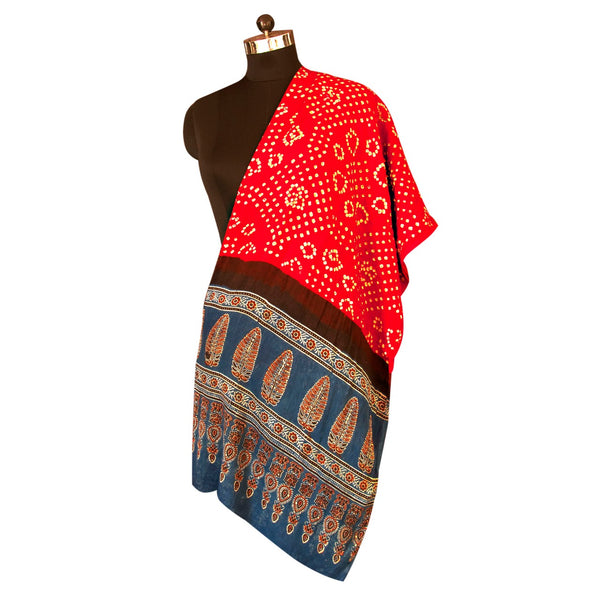 HandPrinted Crimson Red and Blue Bandhej and Ajrakh Dupatta