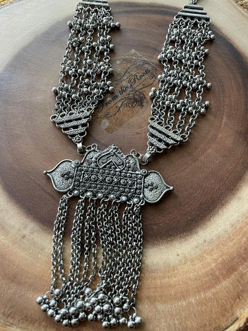 Afghani German Silver Bohi Chic Oxidised Necklace