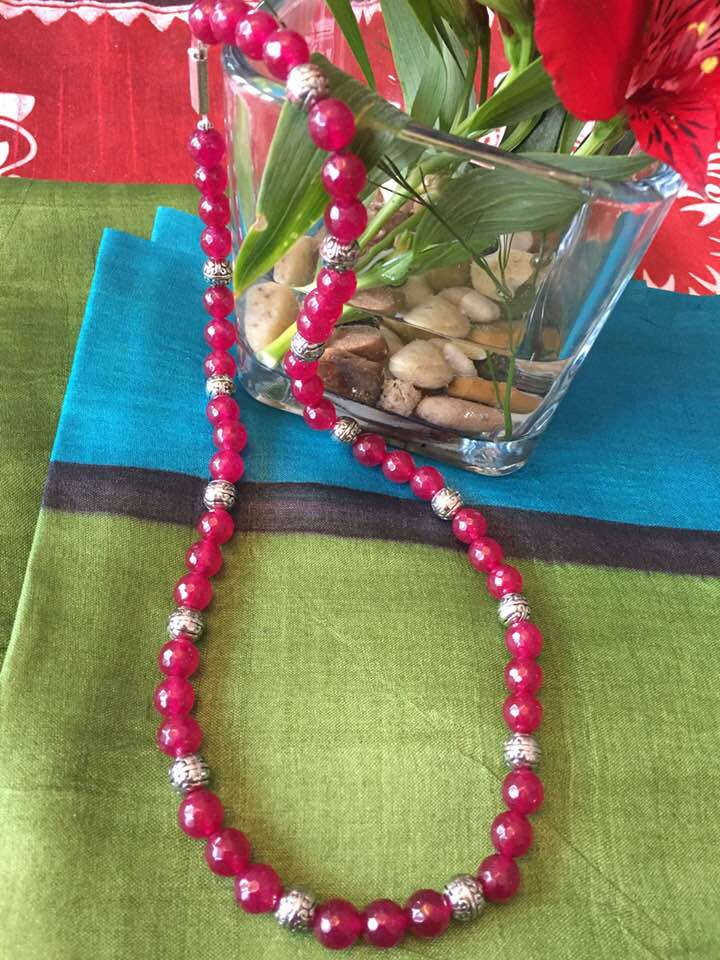EggPlant Beaded Necklace with Silver Earrings