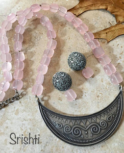 Silver and Pink Designer Necklace Set with Jade beads