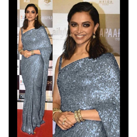 Grey Silver Sequin Sequence Chiffon Saree