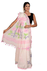White Color 100 Count Handwoven Linen Saree