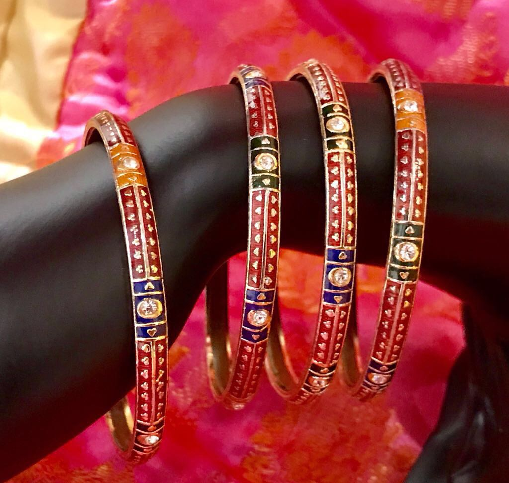 Multicolored Gold Plated Meenakari Bangles