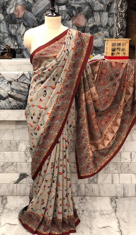 Super Soft Printed Pashmina Kani Silk Saree on Grey Body with Multicolored Floral Pattern