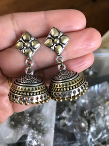 Dual Tone German Silver Jhumka Earrings