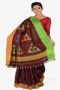 Deep Brown Color 100 Count Handwoven Linen Saree