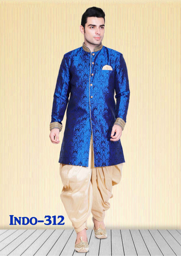 f9f97ba805bb Blue   Black Color Combination Mens Dupion Silk Kurta Pajama Set