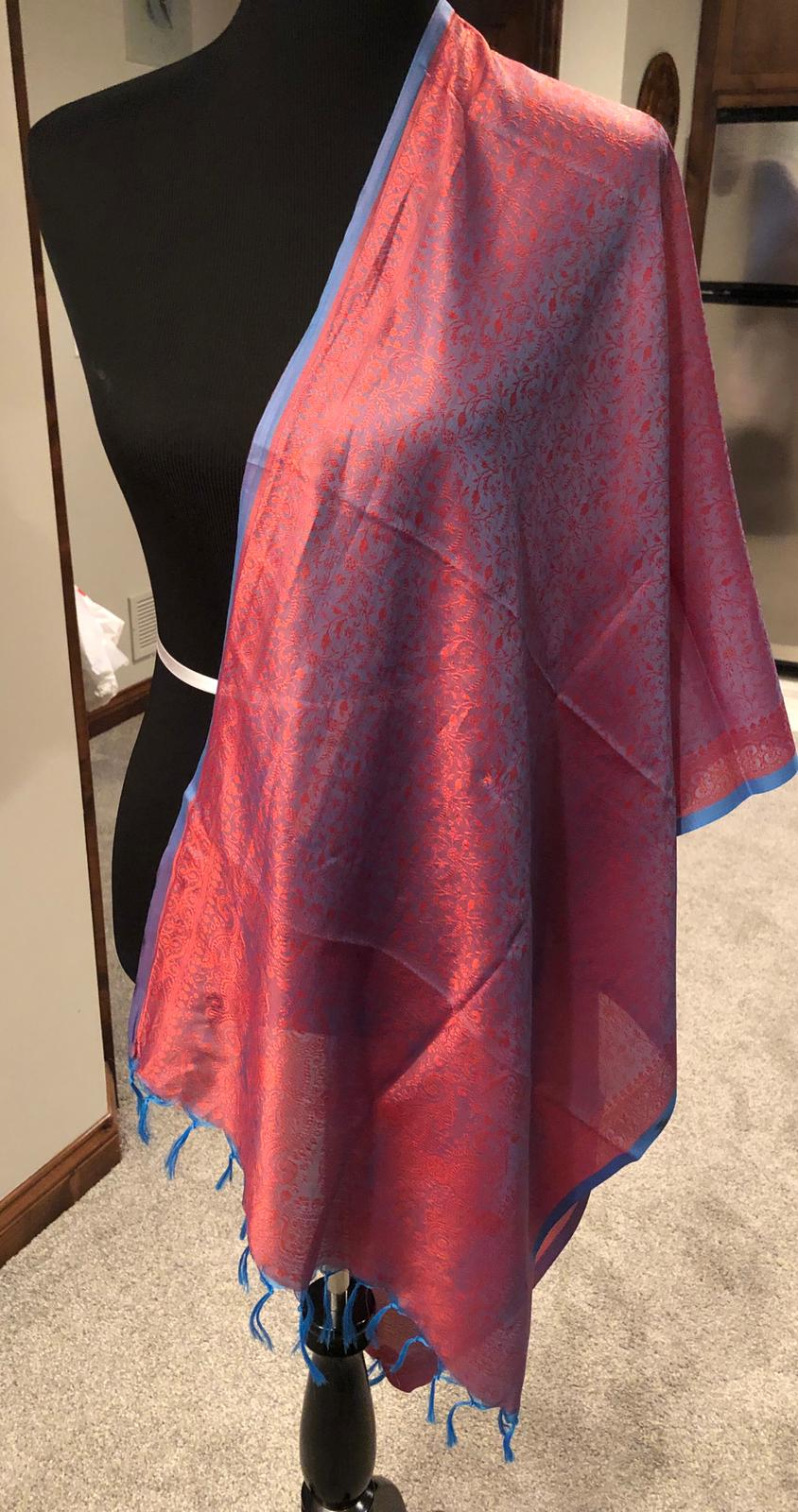 Red with Blue Border Pure Silk Dupatta/Stole