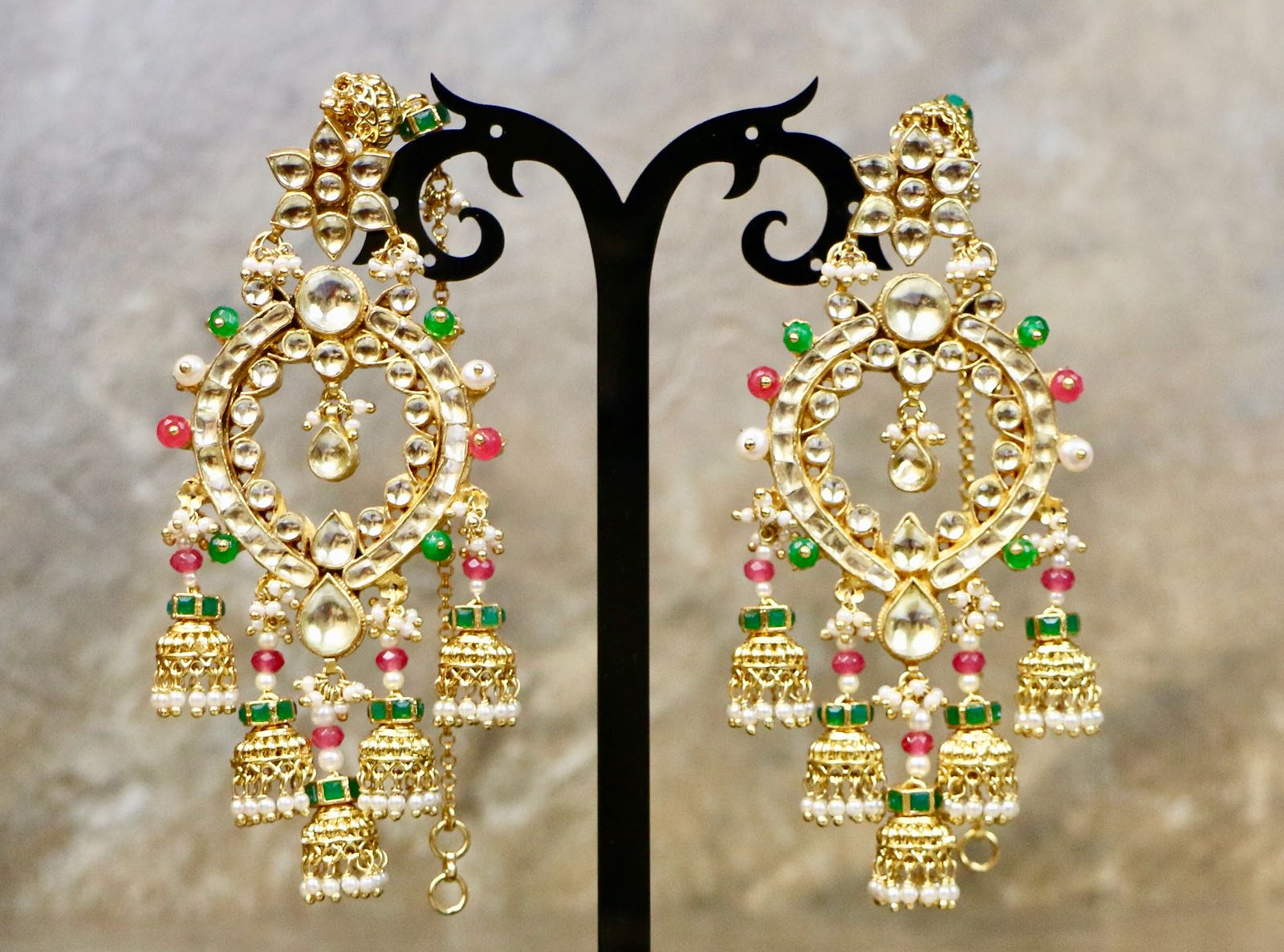 Designer Uncut Kundan Transparent Yellow Colored Earrings