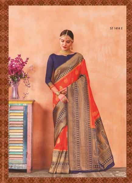 Orange Combined Banarasi Silk Cotton Saree with Blue Border & Zari Works