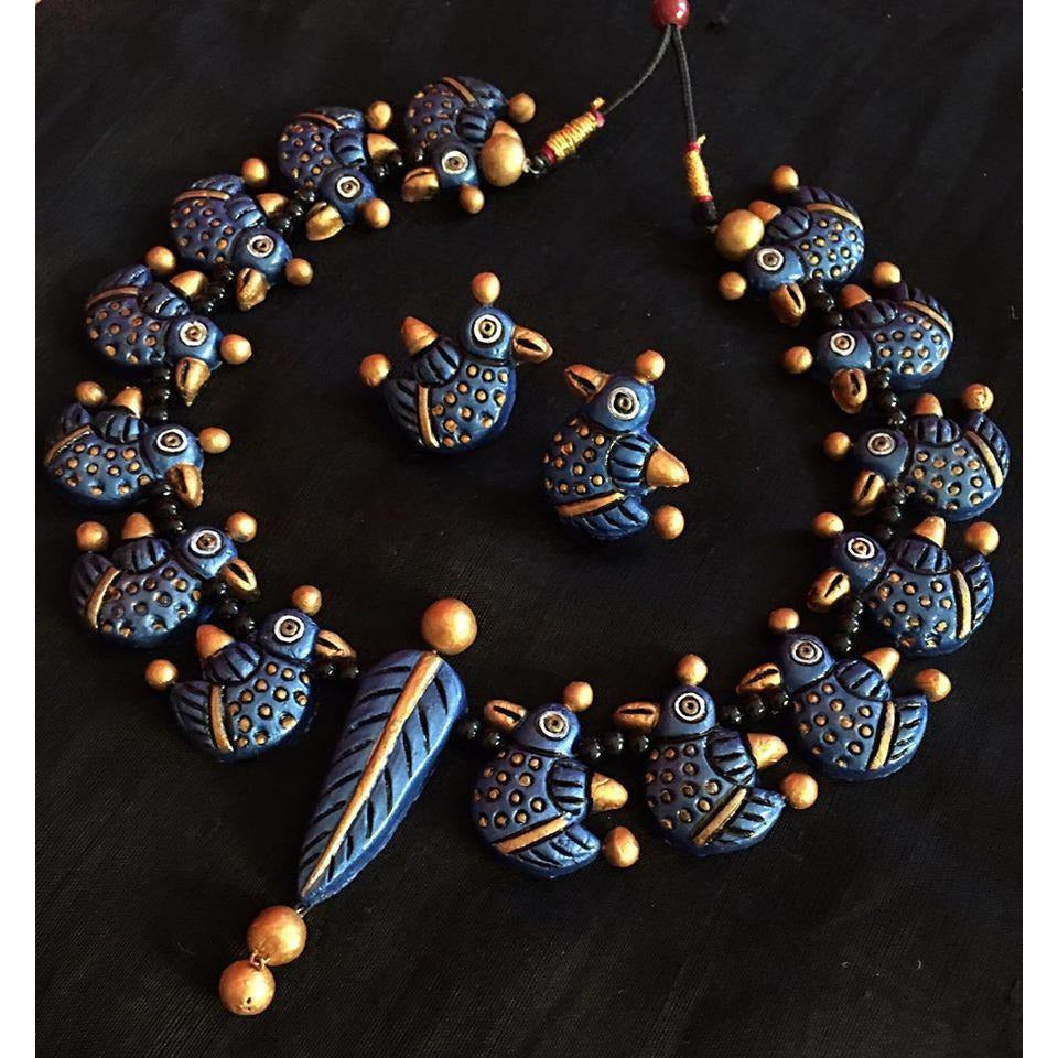 Terracotta Necklace With Earrings