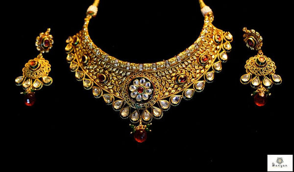 Gold Tone Necklace with Long Earrings & Tikli