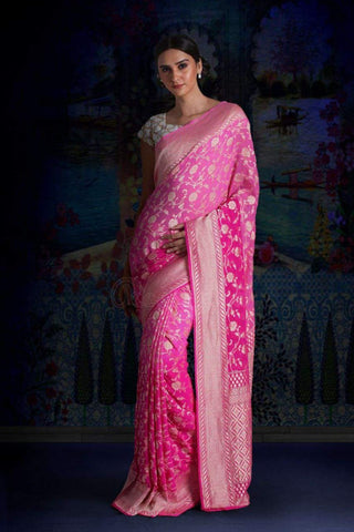 Pink Pure Chiffon Saree with Floral Designs