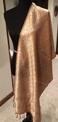 Sandalewood colored Pure Silk Dupatta Stole