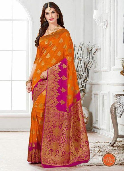Orange & Magenta Silk Saree