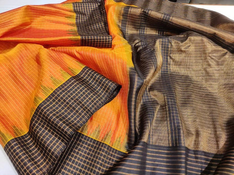 Iridicent Mustard Yellow Orange Pure Silk Gadwal with Temple Border