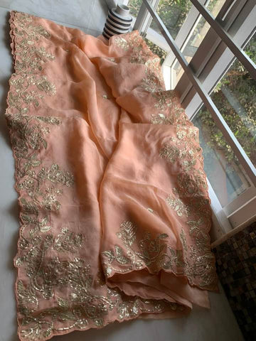 Peach Organza Silk Saree