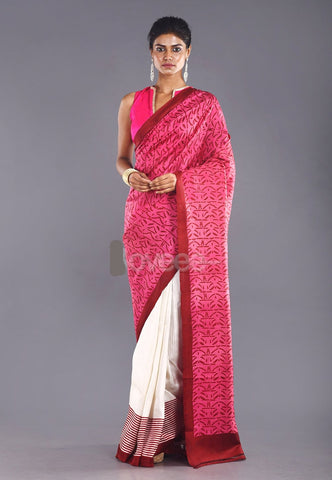 PINK & MAROON COLOR PURE SILK SAREE