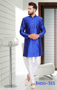 Blue Color Mens Dupion Silk Kurta Pajama Set
