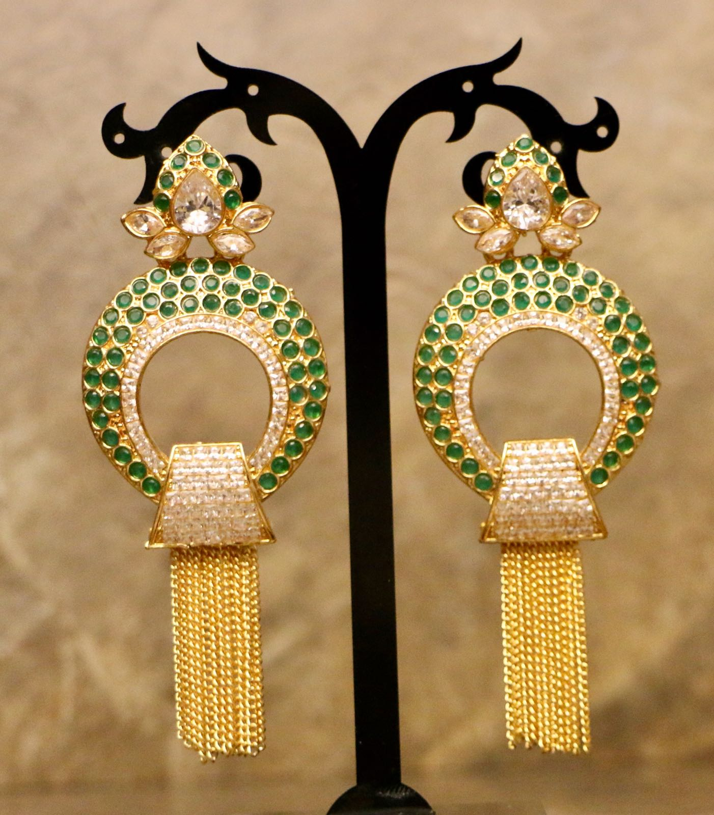 Gold Plated Crystal Green Stone Earrings