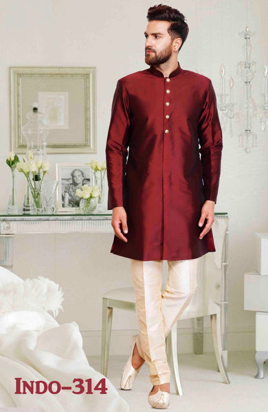 Maroon Color  Mens Dupion Silk Kurta Pajama Set
