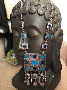 Long German Silver Lightweight Necklace With Sky Blue & Blue Stones