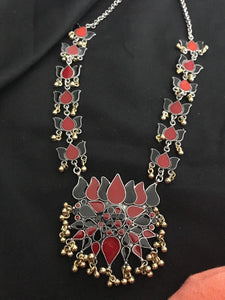 Long Maroon & Black Lotus Style Designer Necklace